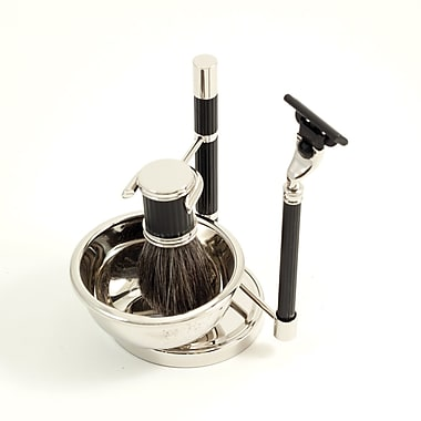 Bey-Berk Mach 3 Razor and Pure Badger Brush with Soap Dish on Chrome Black Stand (BB22)