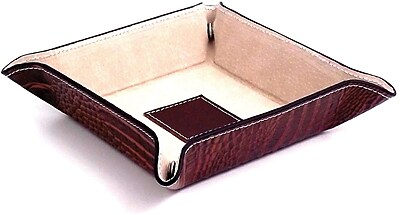 Bey-Berk BB500 Croco Leather Snap Valet With Pig Skin Leather Lining, Brown