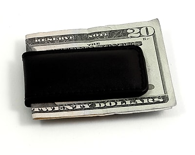 Bey-Berk BB502 Leather Magnetic Money Clip, Black