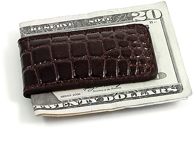 Bey-Berk Croco Leather Magnetic Money Clip, Brown