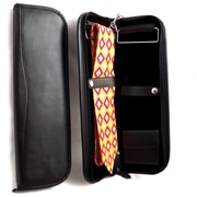 Bey-Berk Leather Travel  Tie Case With Accessory Pocket and Hanging Hook, Black