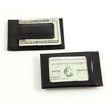 Bey-Berk BB516 Leather Magnetic Money Clip and Wallets With ID Window