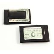Bey-Berk Leather Magnetic  Money Clip and Wallet With ID Window, Black