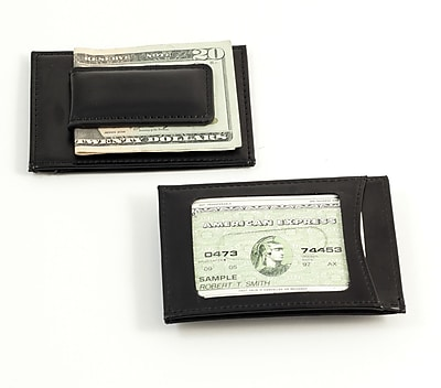 Bey-Berk BB516 Leather Magnetic Money Clip and Wallet With ID Window, Black