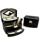 Bey-Berk Leather 3  Level Hinged Jewelry Box With Mirror, Black