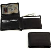 Bey-Berk Black Leather  Bi-Fold Wallet With Flip Out ID Window