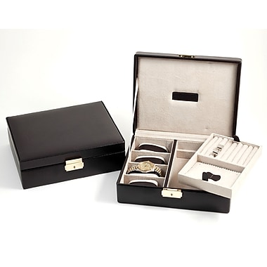 Bey-Berk Brown Leather 4 Watch Case and Valet