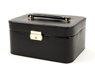 Bey-Berk Debossed Lizard Leather Jewelry Box, Black