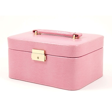 Bey-Berk Debossed Lizard Leather Jewelry Box, Pink