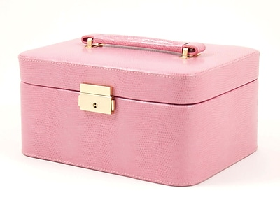 Bey-Berk BB534 Leather Lizard Jewelry Box, Pink