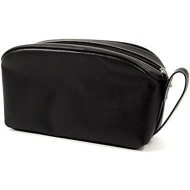 Bey-Berk Leather Toiletry Bag, Black