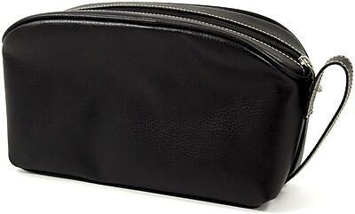 Bey-Berk Leather Toiletry Bag, Black