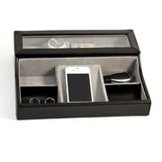 Bey-Berk BB537 Black Leather Valet Box, 3 Watches, Slots For Cufflink, Change and Phone