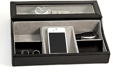 Bey-Berk Black Leather Valet Box, 3 Watches, Slots For Cufflink, Change and Phone
