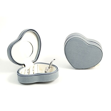 Bey-Berk Debossed Lizard Leather Small Heart Shaped Jewelry Box, Blue