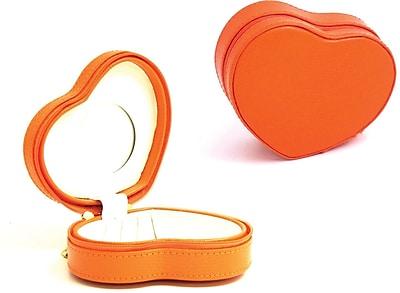 Bey-Berk Debossed Lizard Leather Small Heart Shaped Jewelry Box, Orange