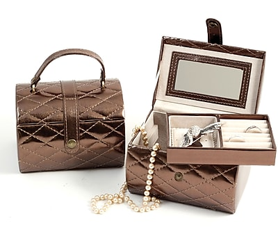 Bey-Berk Leatherette Sweet 16 Jewelry Box, Bronze