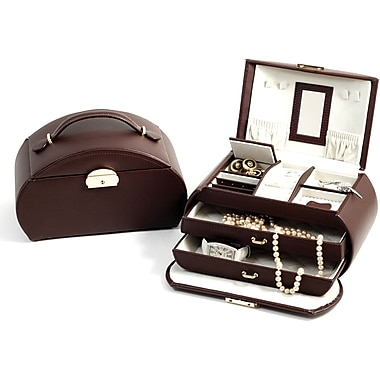 Bey-Berk Leather Jewelry Box with 2 Drawers, Brown (BB566BRW)
