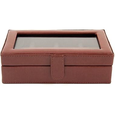 Bey-Berk Leather 12 Cufflink Box, Brown