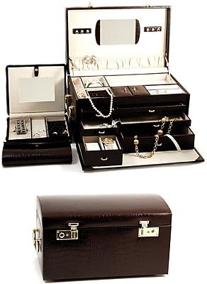 Bey-Berk Debossed Croco Leather Jewelry Chest, Brown