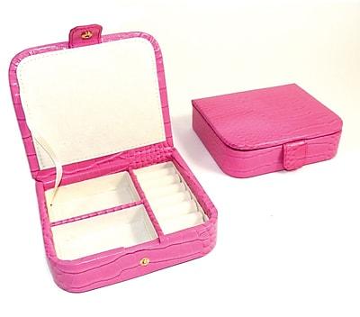 Bey-Berk Debossed Croco Valet Case, Pink