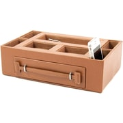 Bey-Berk BB587 Leather Open Face Valet Box With Drawer For 2 Pens and 2 Watches, Tan