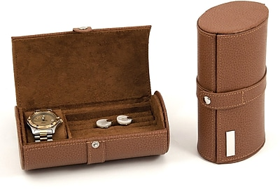 Bey-Berk Leather Watch and Cufflink Travel Case With Snap Closure, Tan