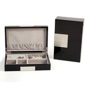Bey-Berk BB597 Lacquered Black Wood Valet Box With Stainless Steel Accents and Multi Compartments
