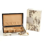 Bey-Berk Lacquered Burl  Wood Valet Box With Multi Compartments Storage, Exotic Ice