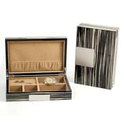 Bey-Berk Lacquered Burl  Wood Valet Box With Multi Compartments, Zebra