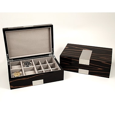 Bey-Berk Lacquered Ebony Burl Wood Valet Box With Stainless Steel Accents