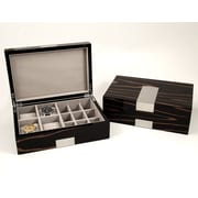 Bey-Berk BB600EBN Lacquered Ebony Burl Wood Valet Box With Stainless Steel Accents