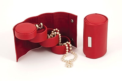 Bey-Berk Leatherette 3 Level Jewelry Roll, Red
