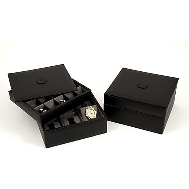 Bey-Berk BB622 Leather Stacked Valetes For 6 Watches and 20 Cufflinks With Lid