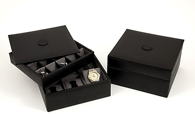 Bey-Berk Leather Stacked Valet For 6 Watches and 20 Cufflinks With Lid, Black
