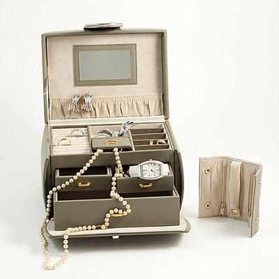Bey-Berk Leather 3 Level Jewelry Box, Olive