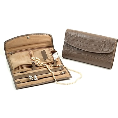 Bey-Berk BB629 Croco Leather Multi Compartment Jewelry Clutches