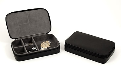 Bey-Berk BB631 Leather Multi Compartment Jewelry Box With Zippered Closure, Black