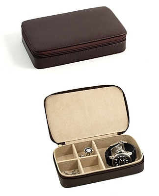 Bey-Berk BB631 Leather Multi Compartment Jewelry Box With Zippered Closure, Brown