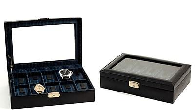Bey-Berk Leather 10 Watch Case, Black