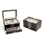 Bey-Berk BB634GRY Lacquered Wenge Wood 8 Watch Box With Glass Top and Drawer