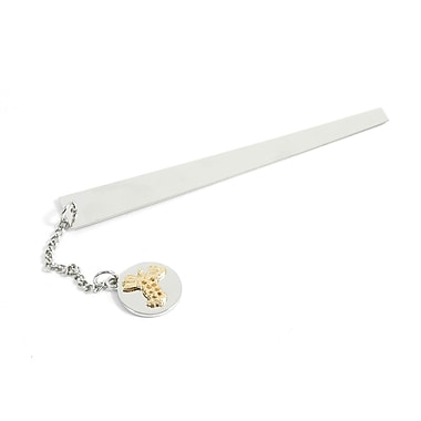 Bey-Berk Chrome Plated Brass Bookmark With Charm, Medical