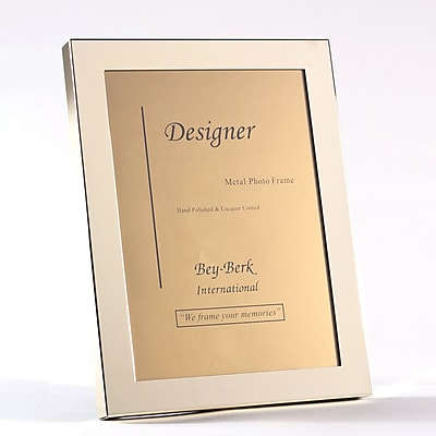 Bey-Berk BF100-12 Brass Picture Frame With Easel Back, 8