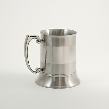 Bey-Berk Stainless Steel Chrome and Satinized Tankard, 1 Pint