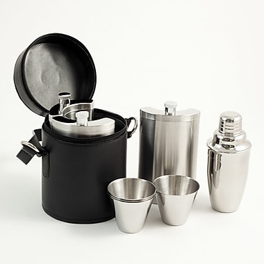 Bey-Berk Stainless Steel Bar Set With Black Buffalo Leather Carrying Case, Ten Piece