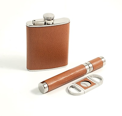 Bey-Berk Cigar Tube & Cutter with leather Flask Set, Brown
