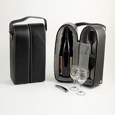 Bey-Berk Leather Wine Caddy, Black