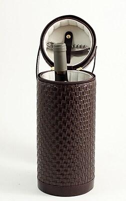 Bey-Berk Leather Wine Caddy With Zipper Closure, Brown