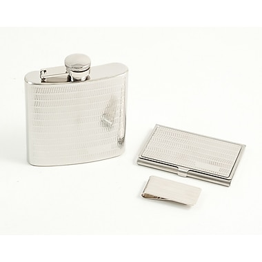 Bey-Berk 3-Piece Set with Flask, Business Card Case, and Money Clip (BS939)