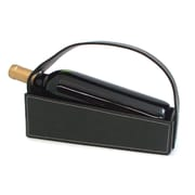 Bey-Berk Black Pebbled  Leather Wine Cradle